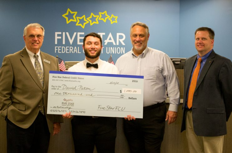 David Paton was awarded a $1,000 scholarship by Five Star Federal Credit Union.