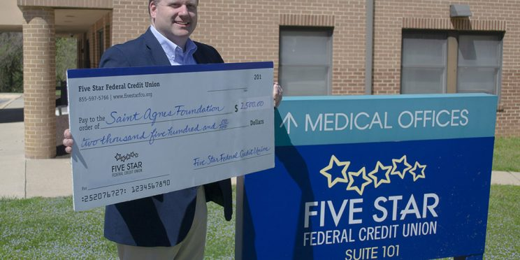President/CEO Jim Whipp presents check to the Saint Agnes Foundation.